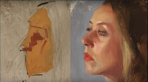 Underpainting and finished portrait