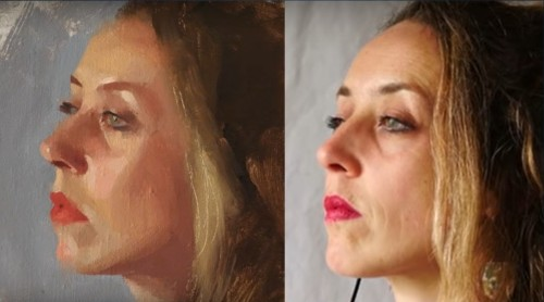 FInished portrait and photo of model